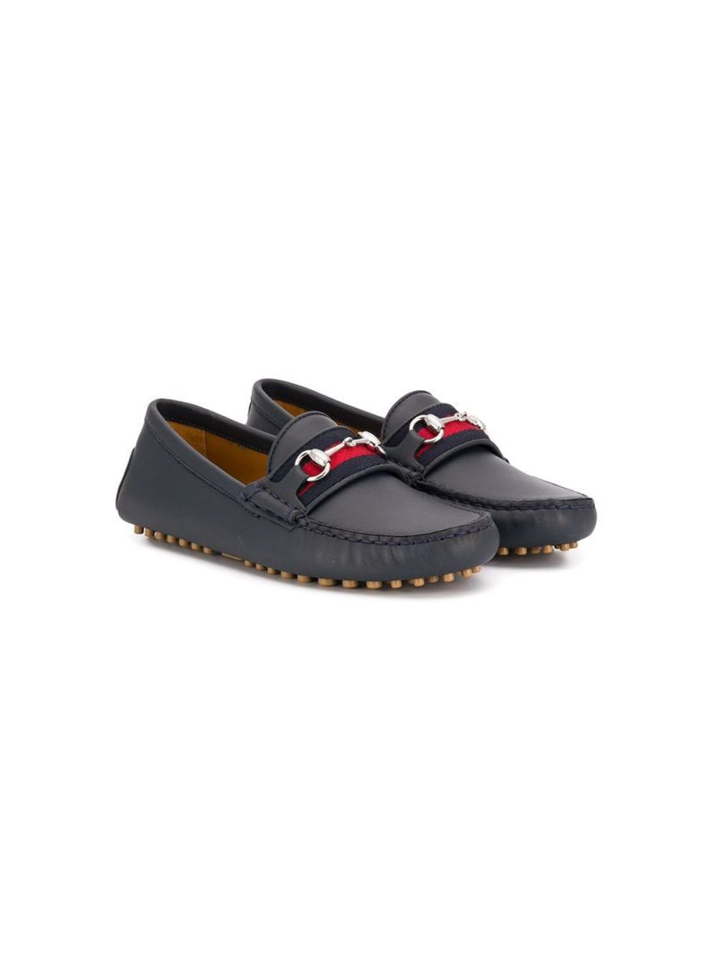 GUCCI CHILDREN: Web-detailed smooth leather loafers_1