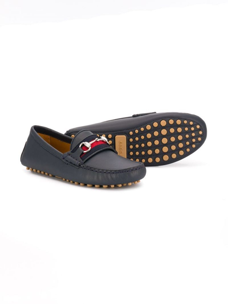GUCCI CHILDREN: Web-detailed smooth leather loafers_2