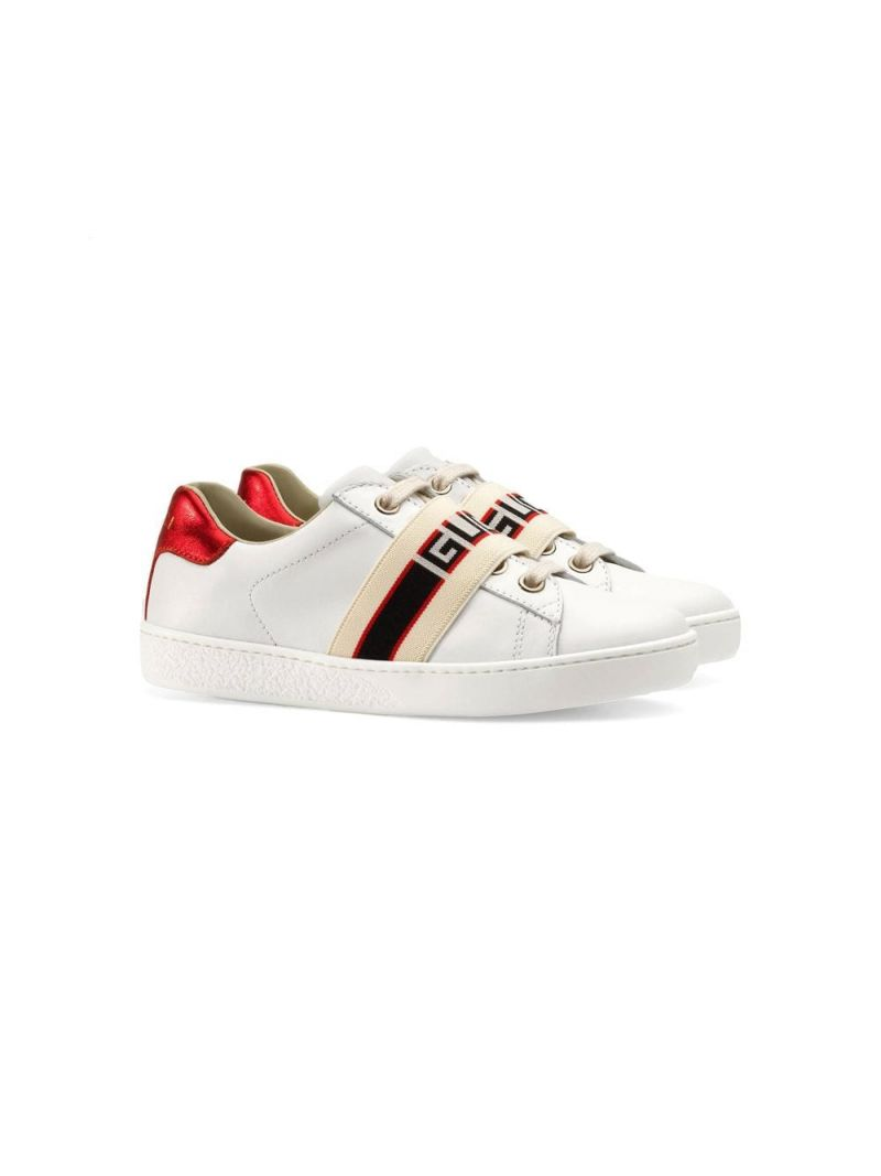 GUCCI CHILDREN: Gucci stripe-detailed smooth leather sneakers_1