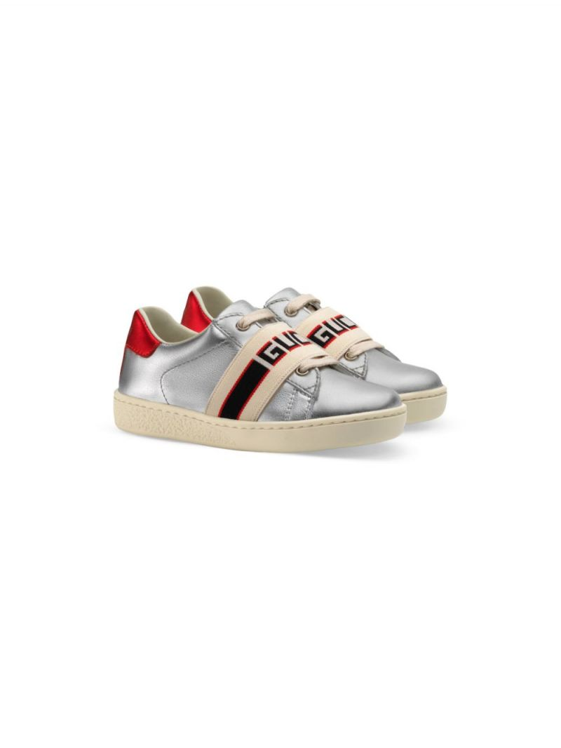 GUCCI CHILDREN: Gucci stripe-detailed laminated leather sneakers_1