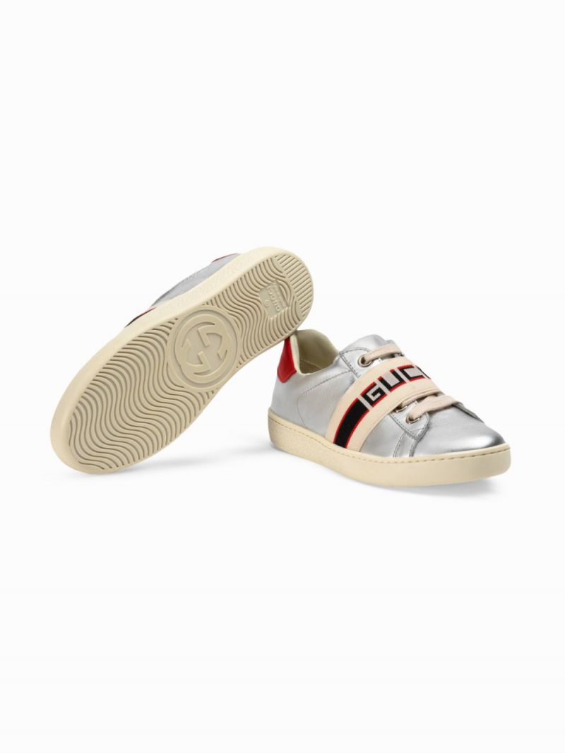 GUCCI CHILDREN: Gucci stripe-detailed laminated leather sneakers_2