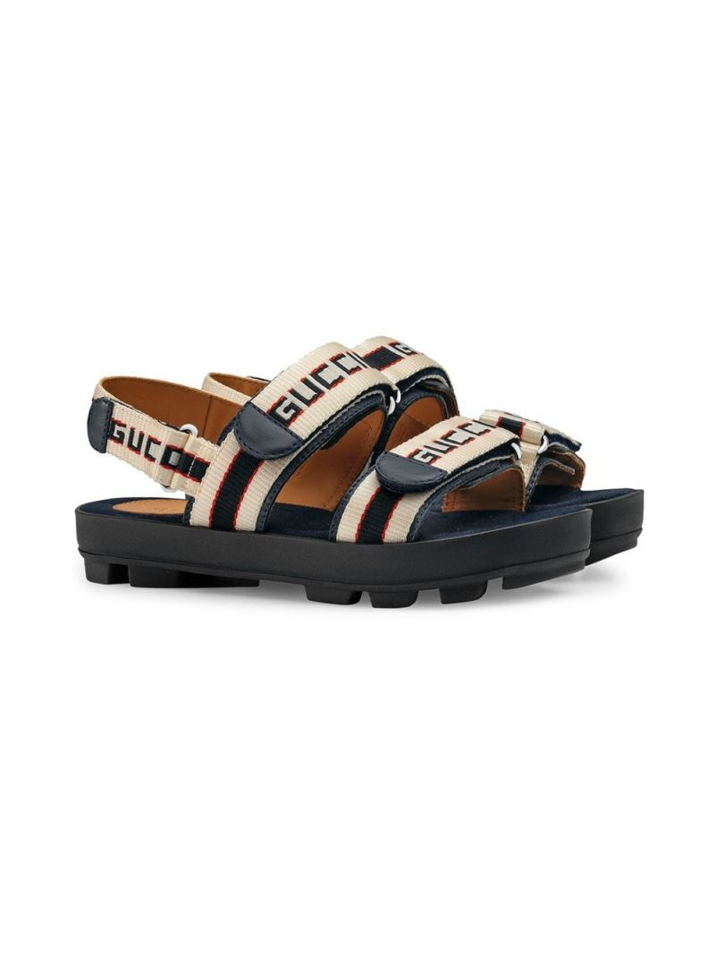 GUCCI CHILDREN: leather flat sandals with Gucci jacquard stripes_1