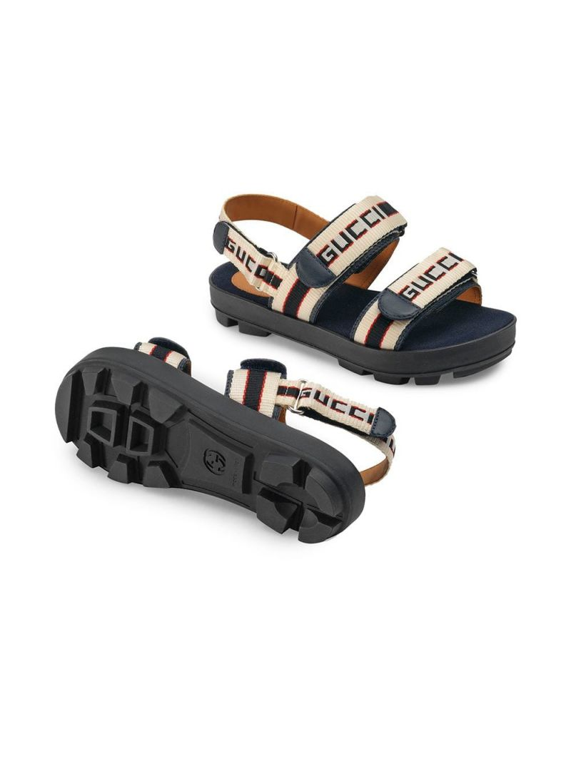 GUCCI CHILDREN: leather flat sandals with Gucci jacquard stripes_2