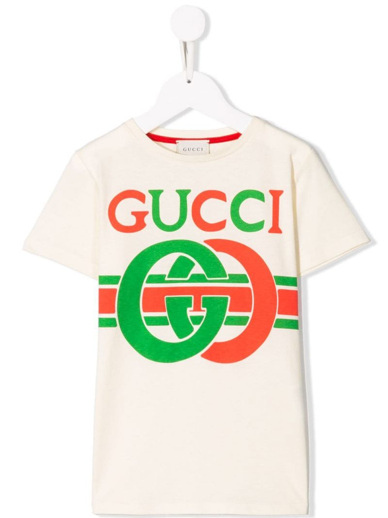 GUCCI CHILDREN: Gucci vintage print cotton t-shirt_1