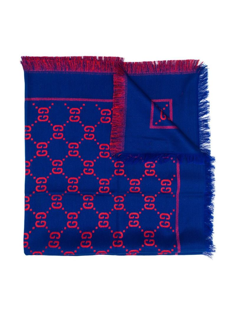 GUCCI CHILDREN: GG cotton wool blend shawl Color Blue_1