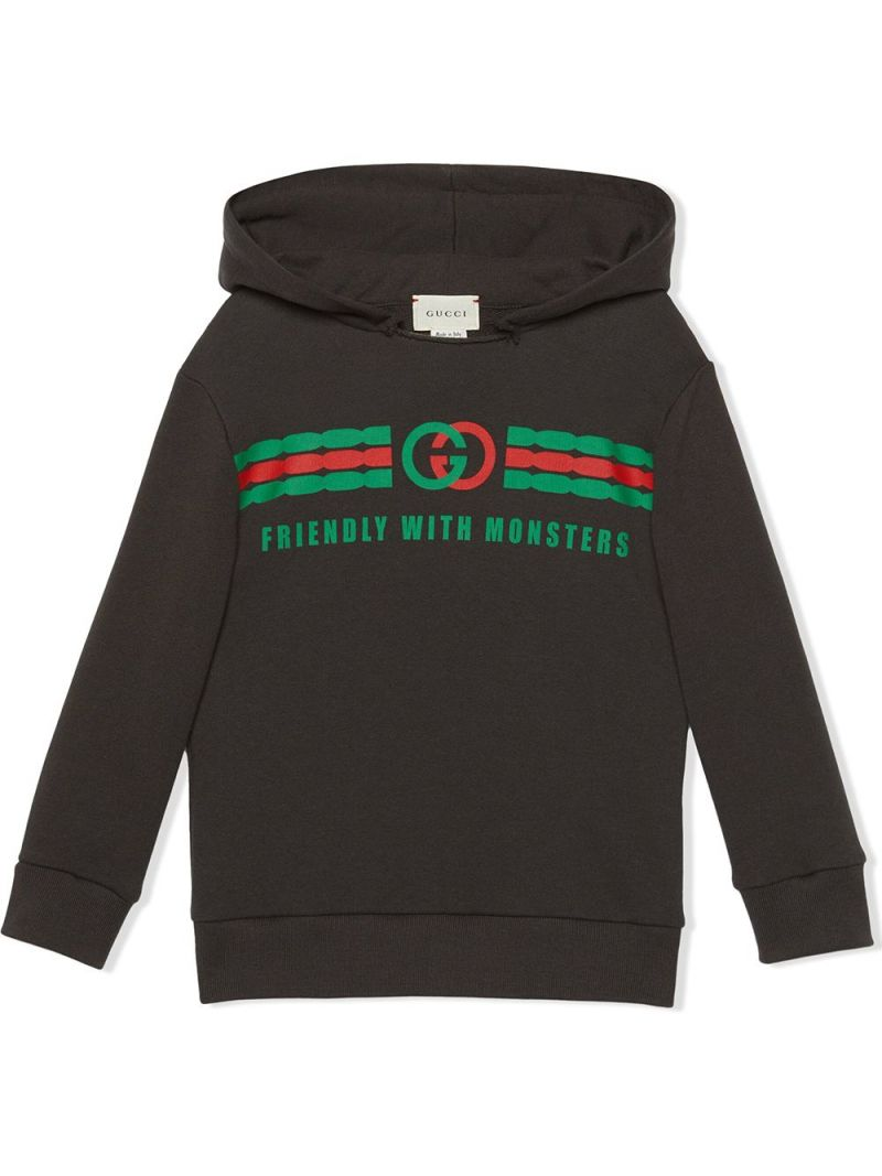 GUCCI CHILDREN: Friendly with Monsters print cotton hoodie_1