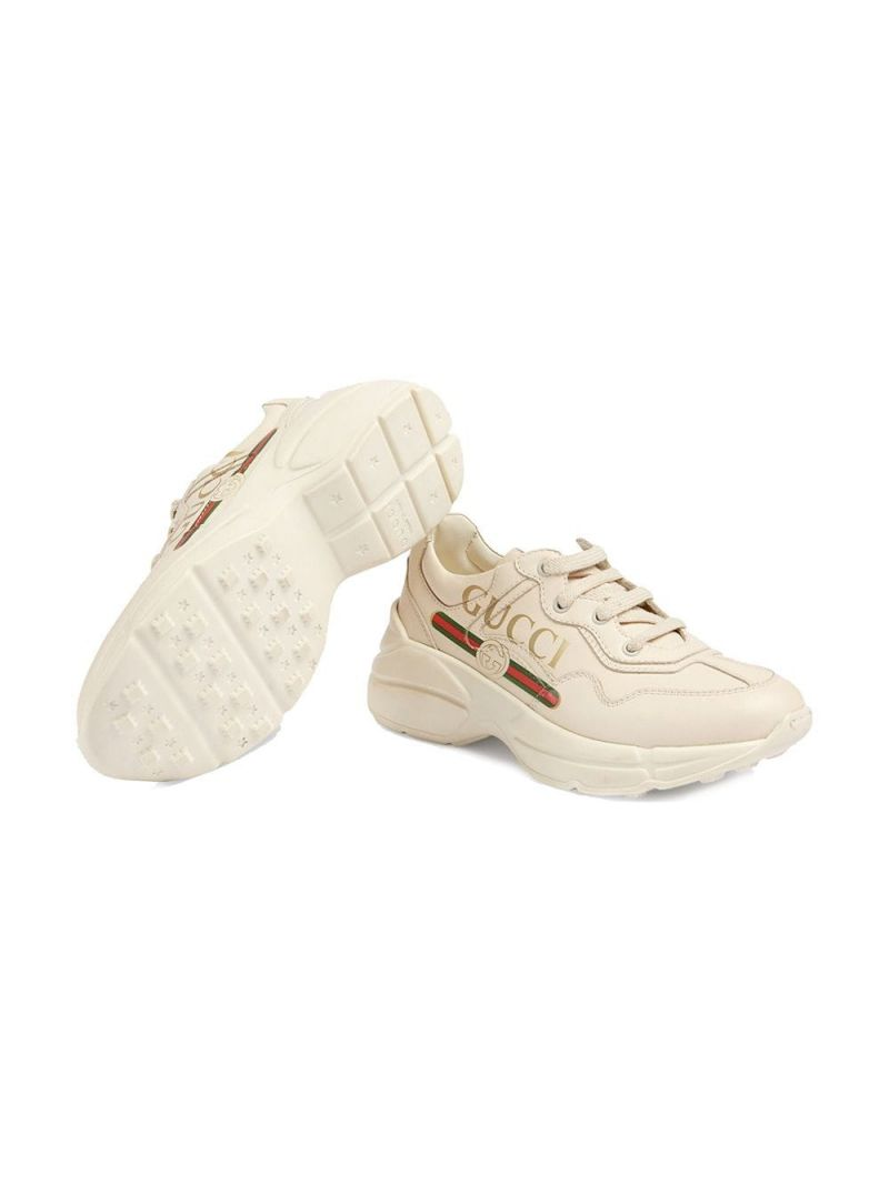 GUCCI CHILDREN: Rhyton sneakers in smooth leather Color Neutral_2