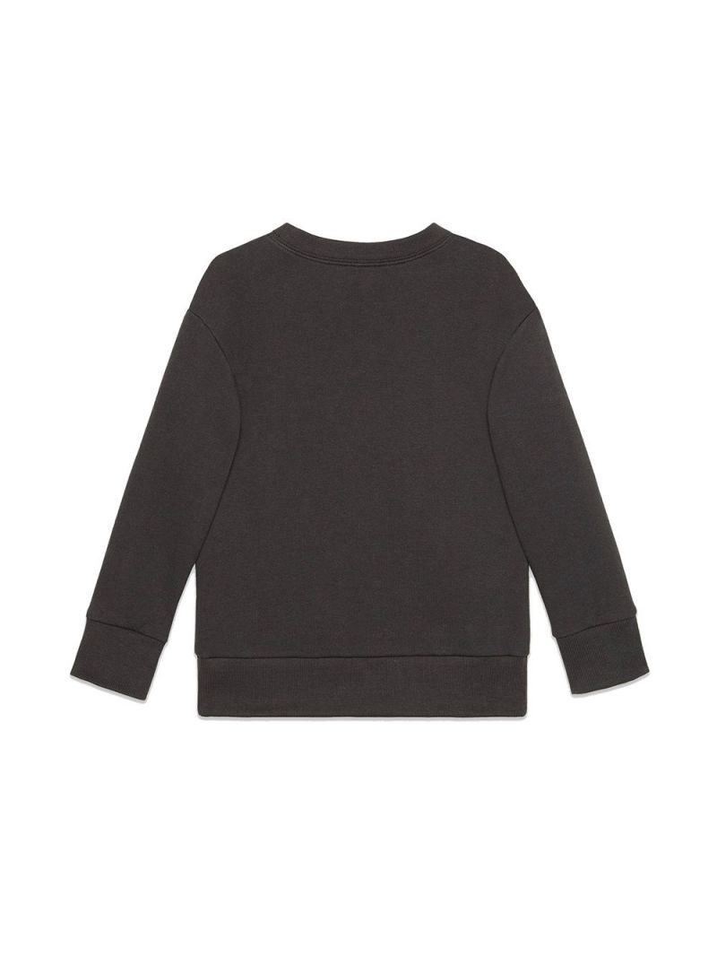 GUCCI CHILDREN: Gucci Tennis embroidered cotton oversize sweatshirt Color Grey_2