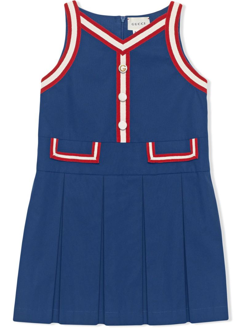 GUCCI CHILDREN: Web-detailed stretch cotton sleeveless dress_1