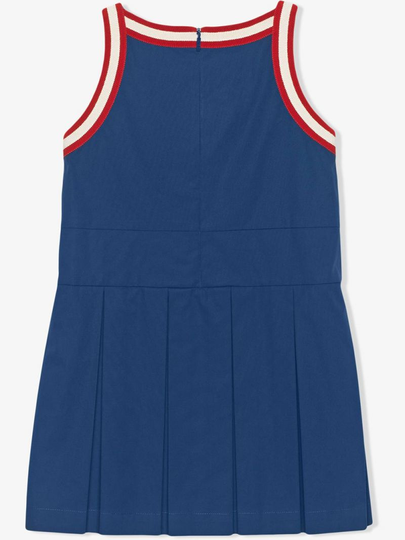 GUCCI CHILDREN: Web-detailed stretch cotton sleeveless dress_2