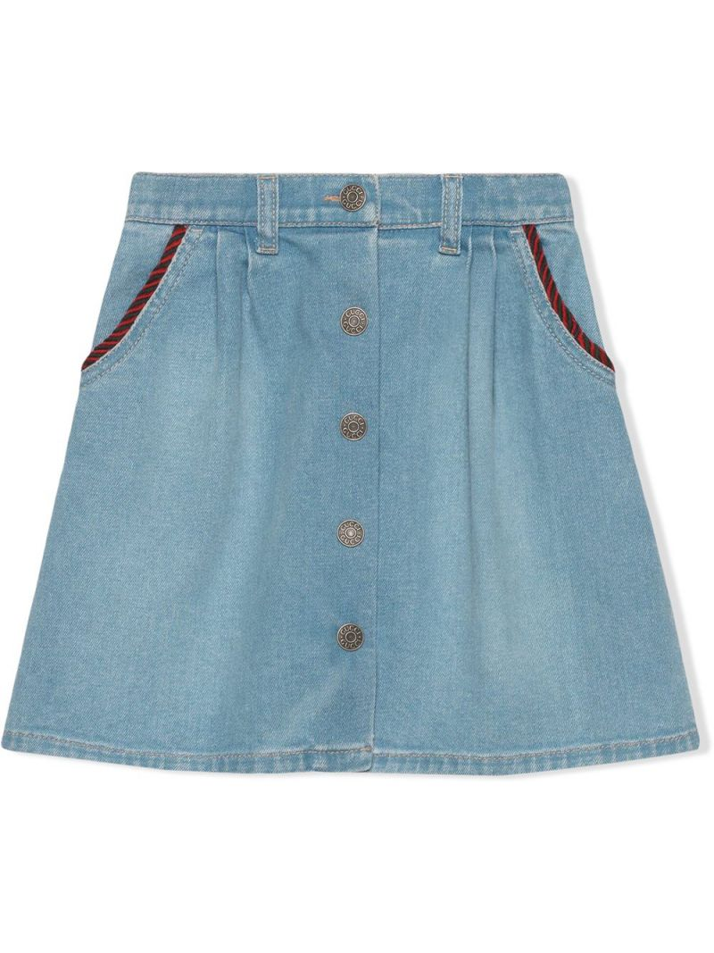 GUCCI CHILDREN: Interlocking G patch stretch denim A-line skirt_1