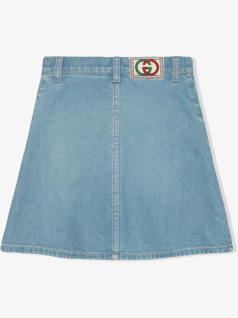 GUCCI CHILDREN: Interlocking G patch stretch denim A-line skirt_2