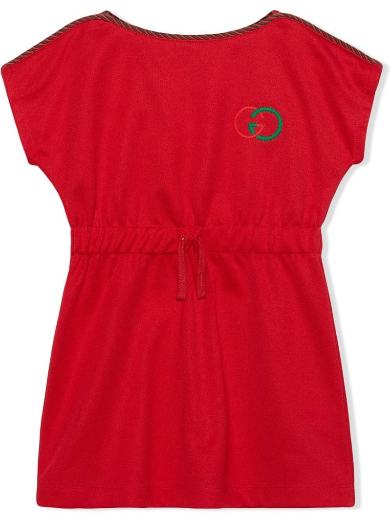 GUCCI CHILDREN: Interlocking G embroidered technical jersey dress Color Red_1