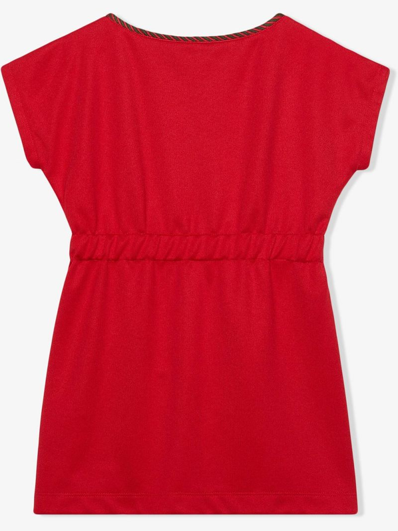 GUCCI CHILDREN: Interlocking G embroidered technical jersey dress Color Red_2