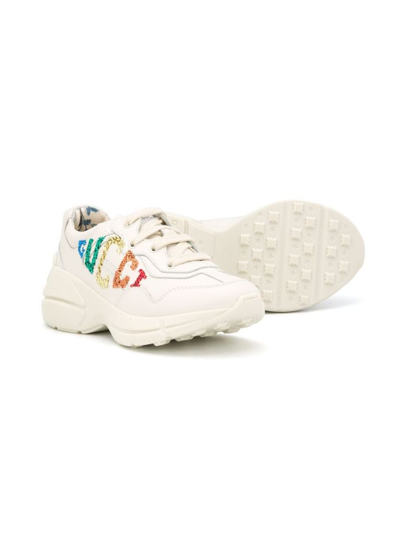 GUCCI CHILDREN: Rhyton smooth leather sneakers Color White_2