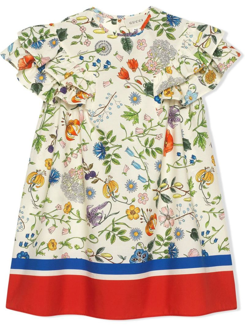 GUCCI CHILDREN: Floral Festival print cotton dress_1
