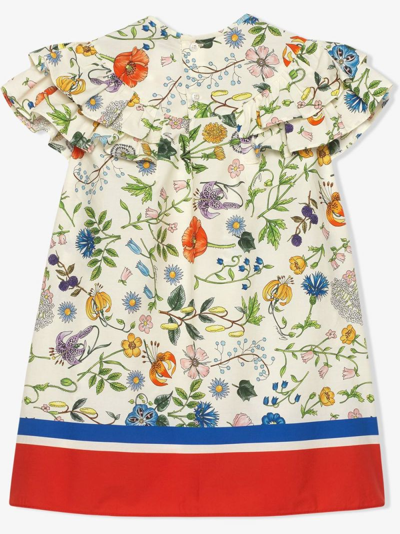 GUCCI CHILDREN: Floral Festival print cotton dress_2
