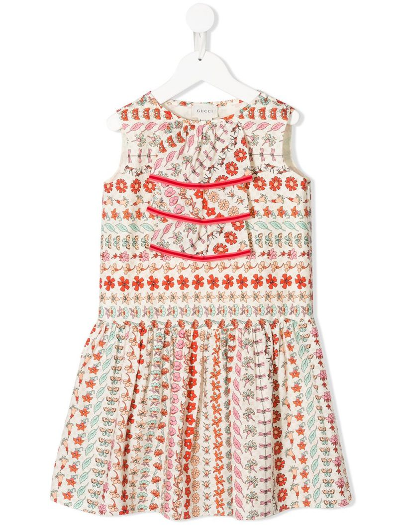 GUCCI CHILDREN: floral print cotton sleeveless dress_1