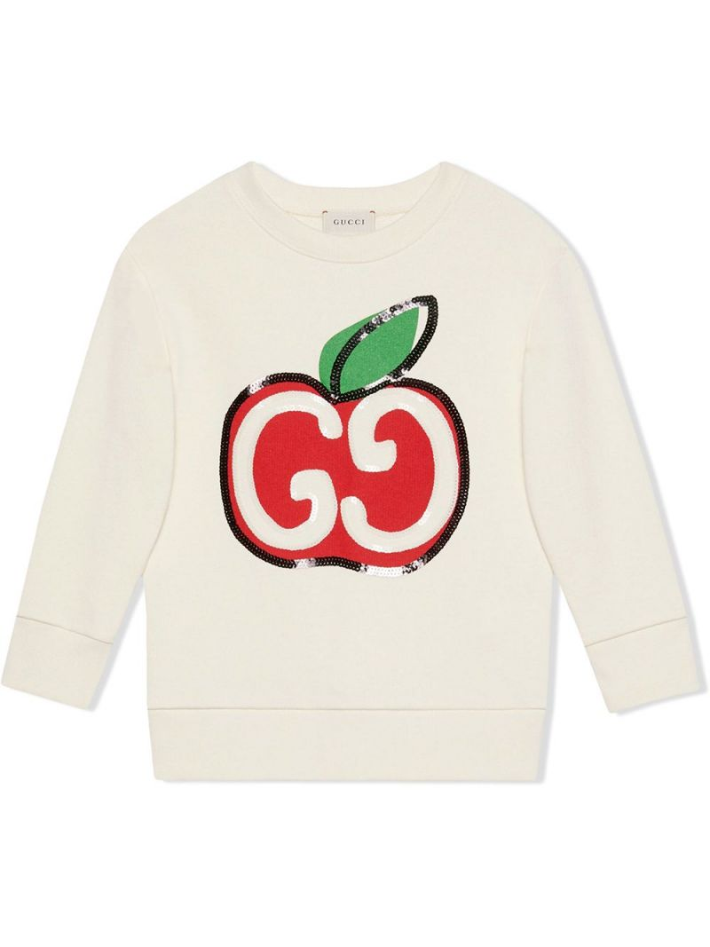 GUCCI CHILDREN: GG apple print cotton sweatshirt Color Multicolor_1