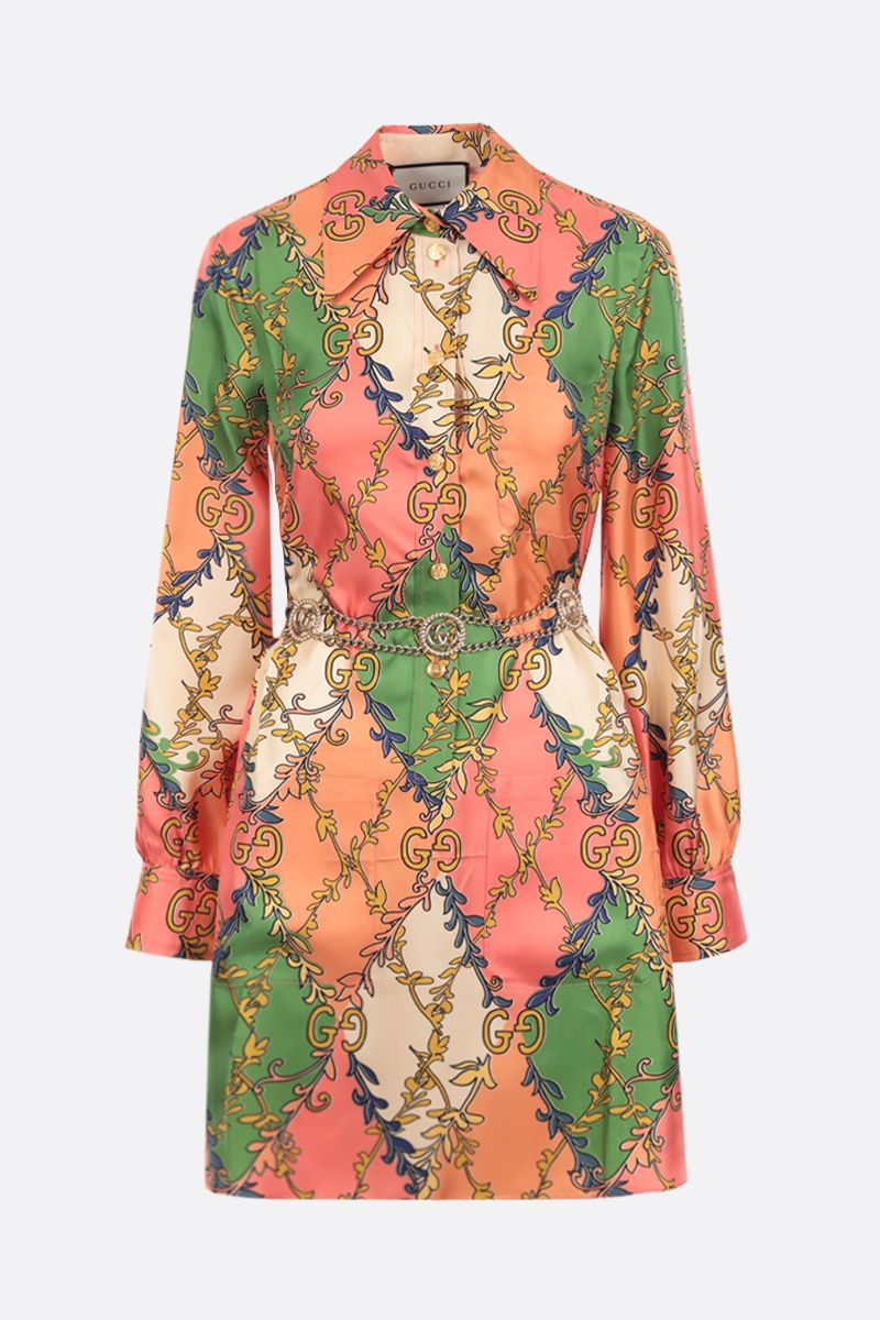 GUCCI: printed silk shirt dress Color Pink_1