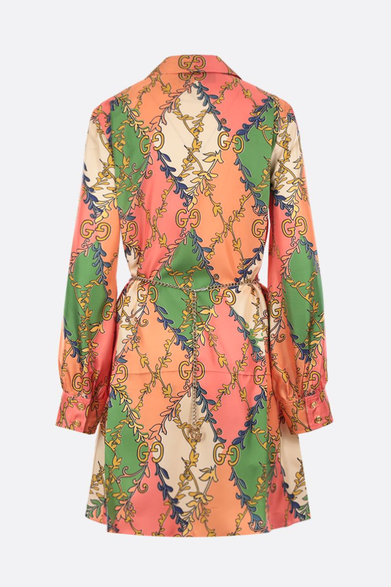 GUCCI: printed silk shirt dress Color Pink_2