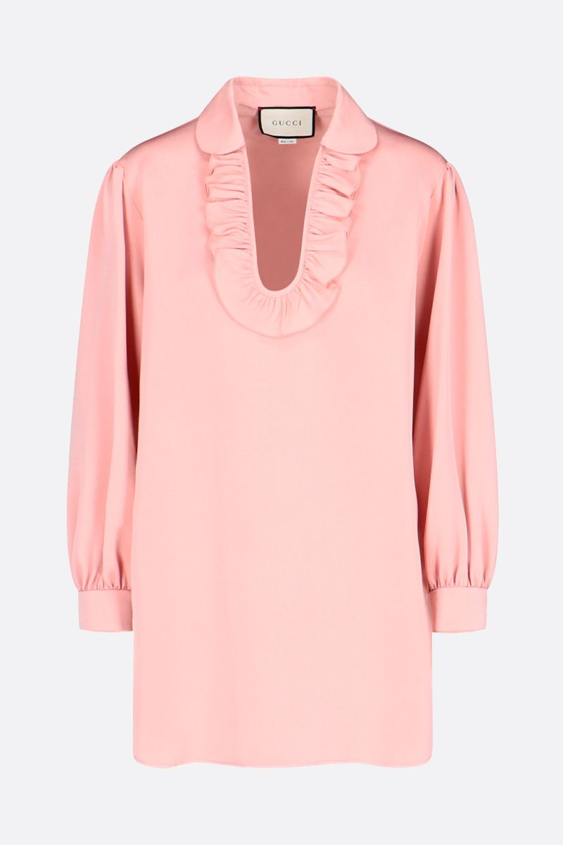 GUCCI: ruches-detailed silk blend blouse Color Pink_1