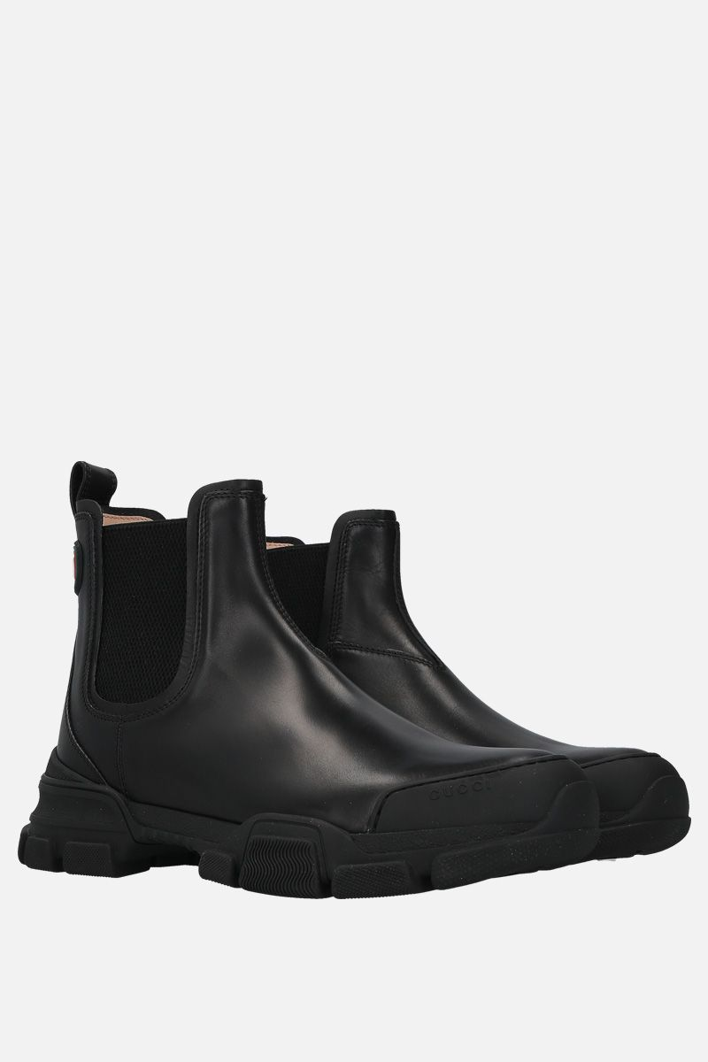 GUCCI: smooth leather chelsea boots Color Black_2
