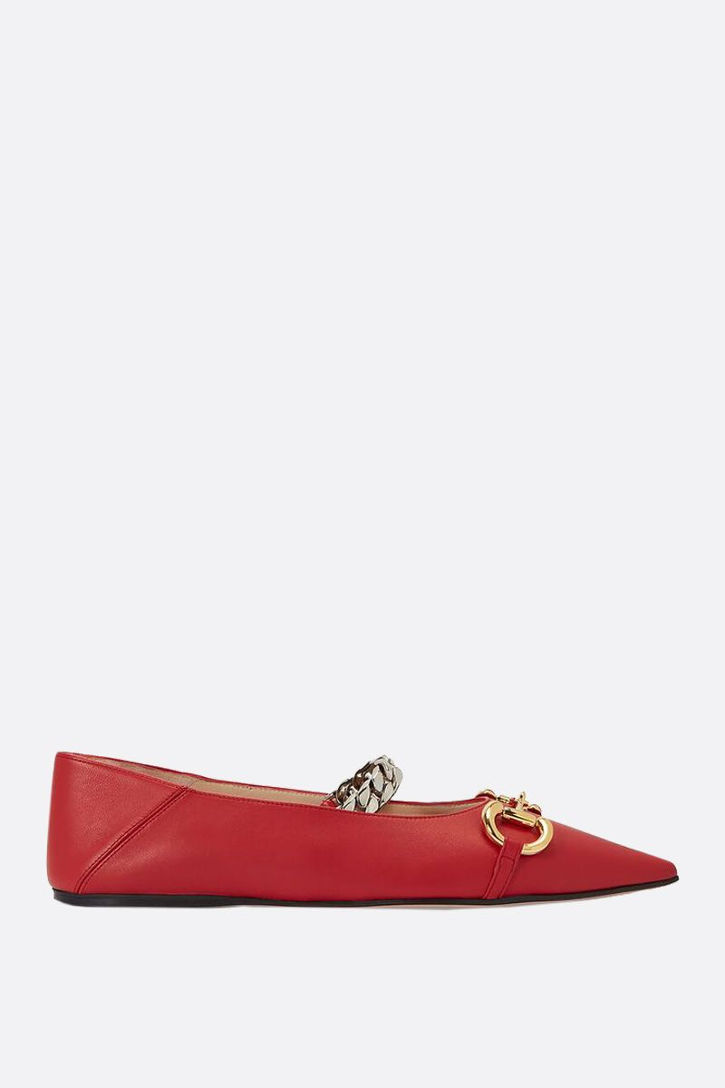 GUCCI: Horsebit-detailed smooth leather ballerinas Color Red_1