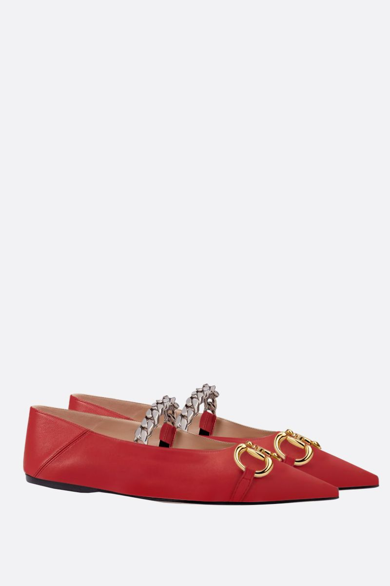 GUCCI: Horsebit-detailed smooth leather ballerinas Color Red_2