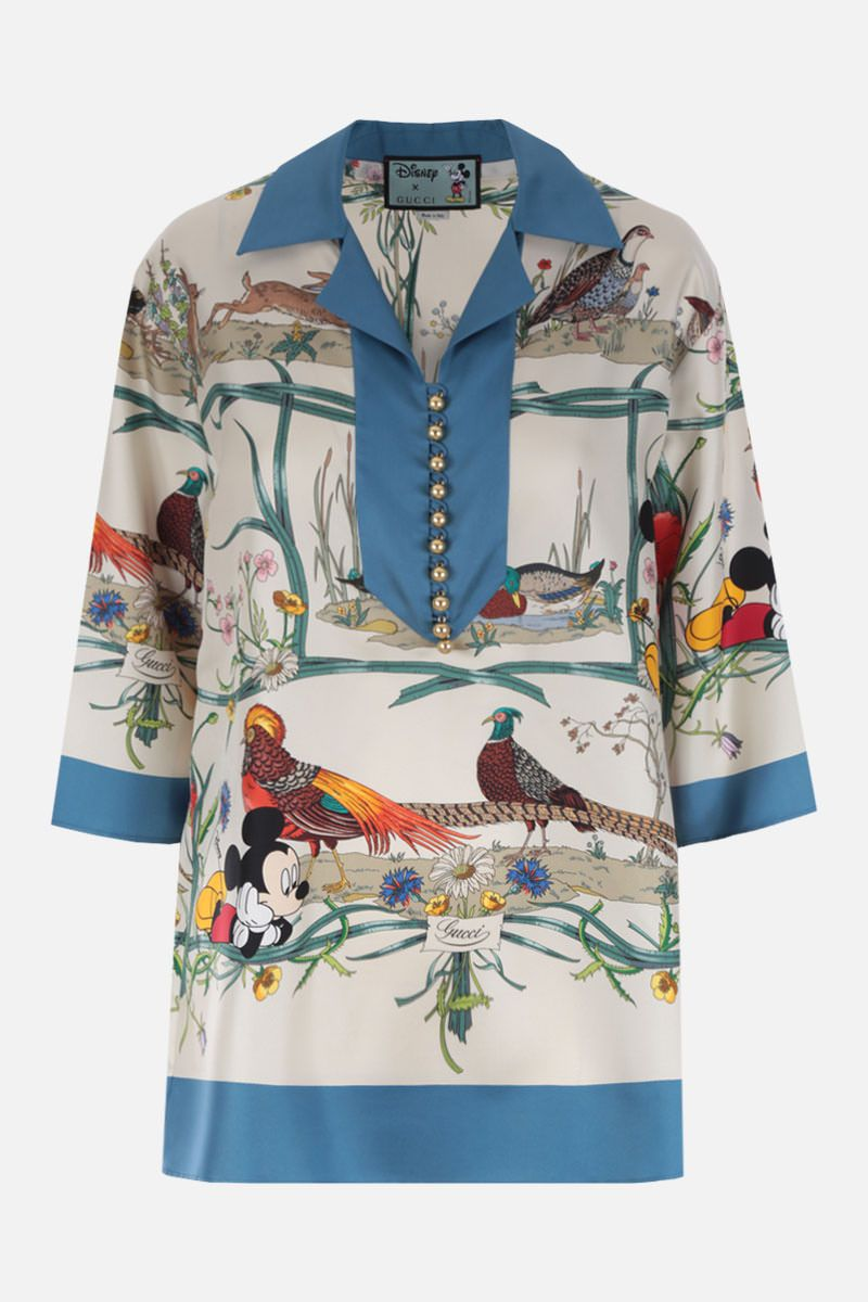 GUCCI: Disney X Gucci printed silk blouse Color Multicolor_1