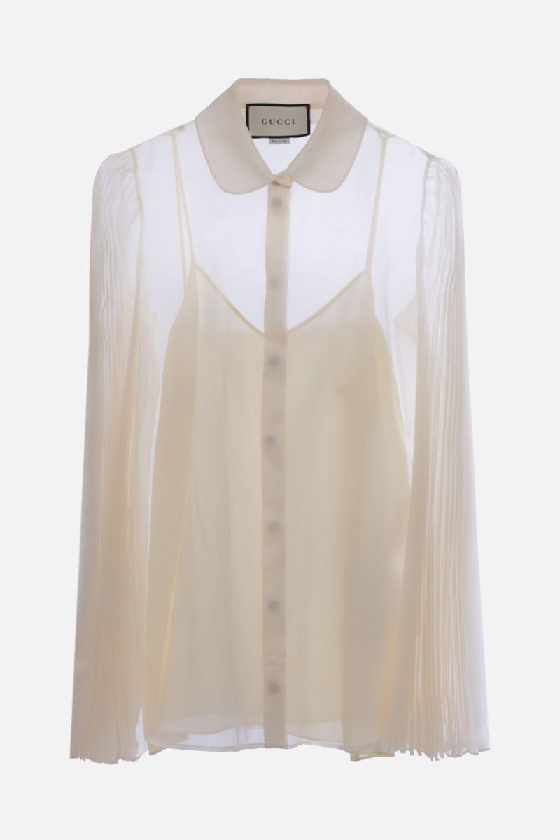 GUCCI: pleated sleeves-detailed organdy shirt Color Neutral_1