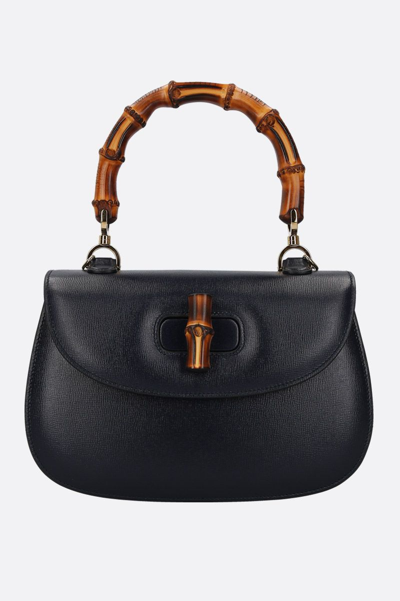 GUCCI: Bamboo top handle bag in textured leather Color Blue_1