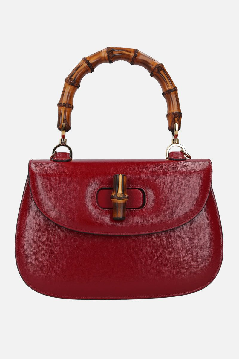 GUCCI: Bamboo top handle bag in textured leather_1