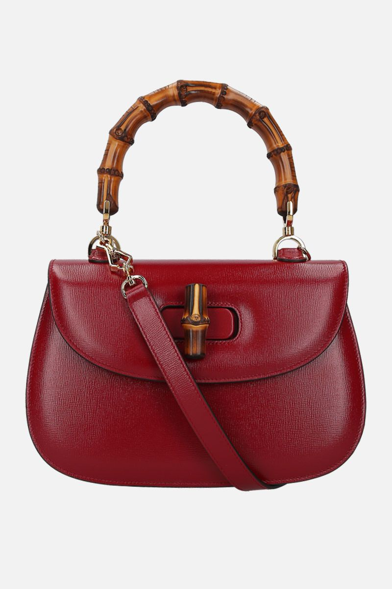 GUCCI: Bamboo top handle bag in textured leather_2