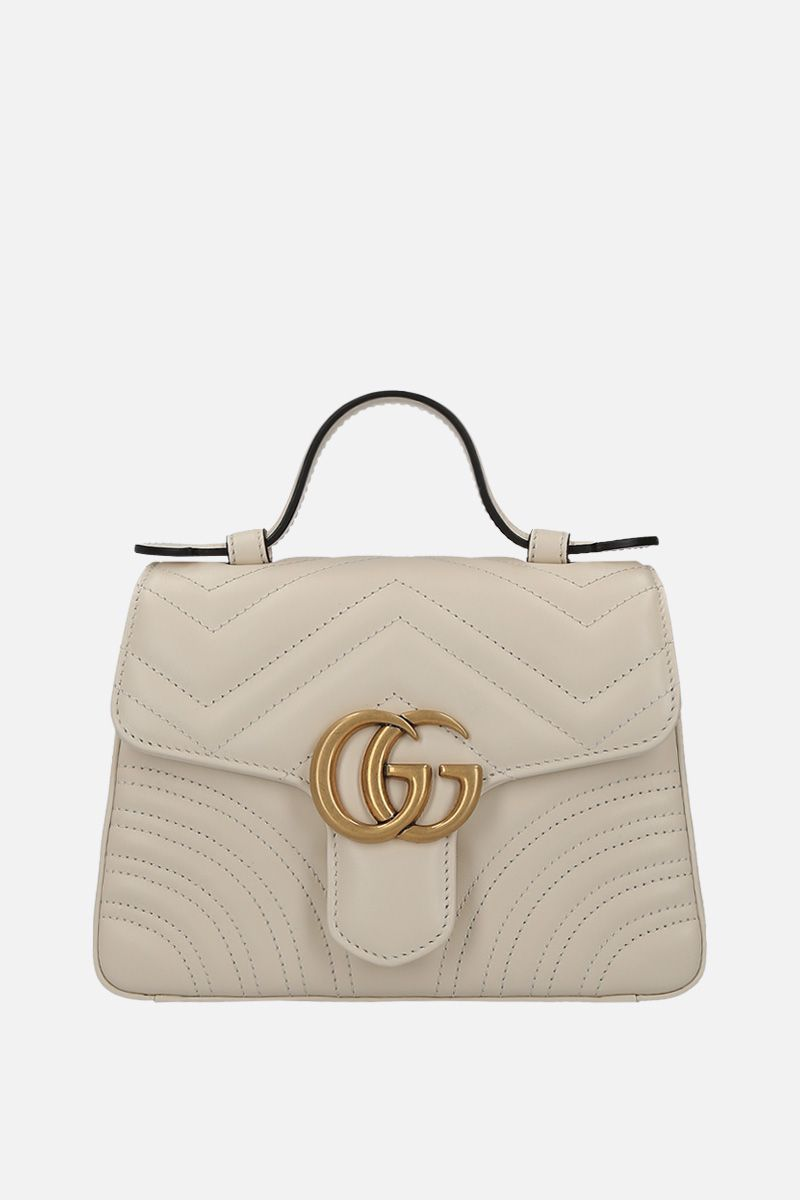 GUCCI: GG Marmont handbag in quilted leather Color White_1