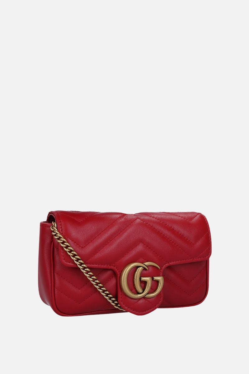 GUCCI: GG Marmont mini crossbody bag in quilted leather Color Red_2