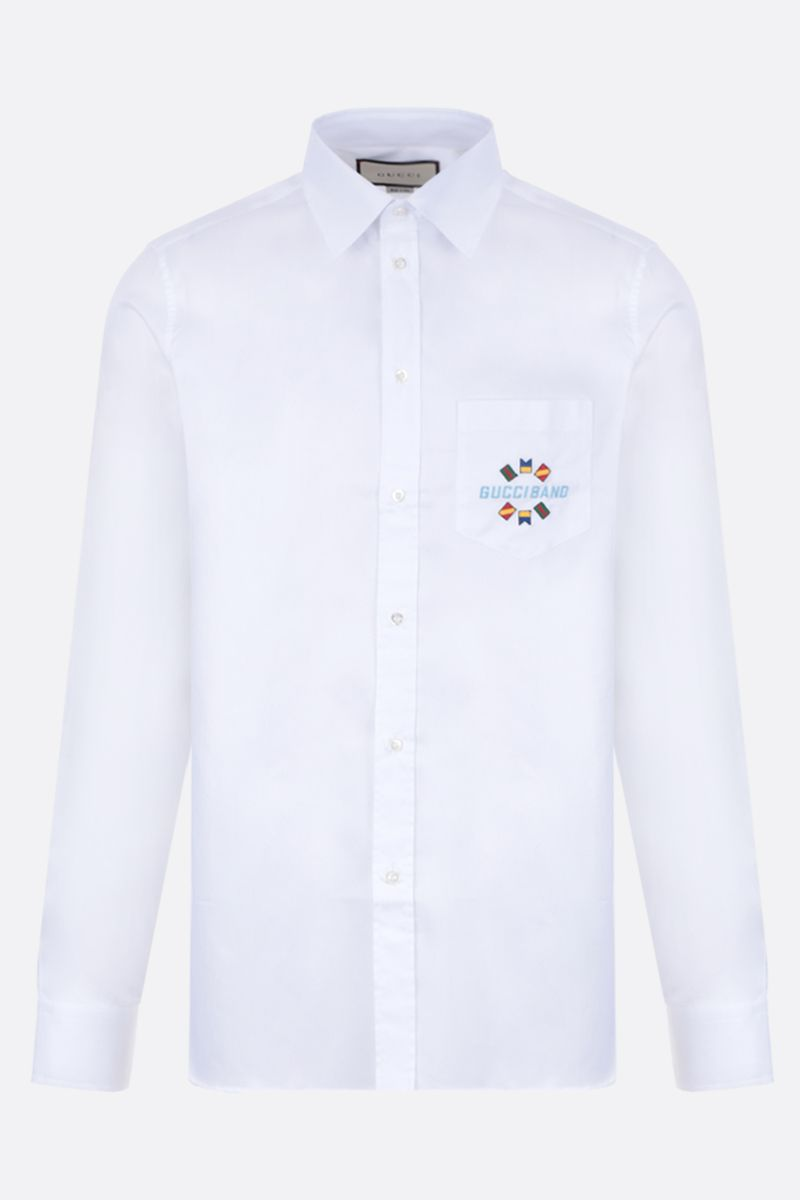 GUCCI: Gucci Band embroidered cotton shirt Color White_1
