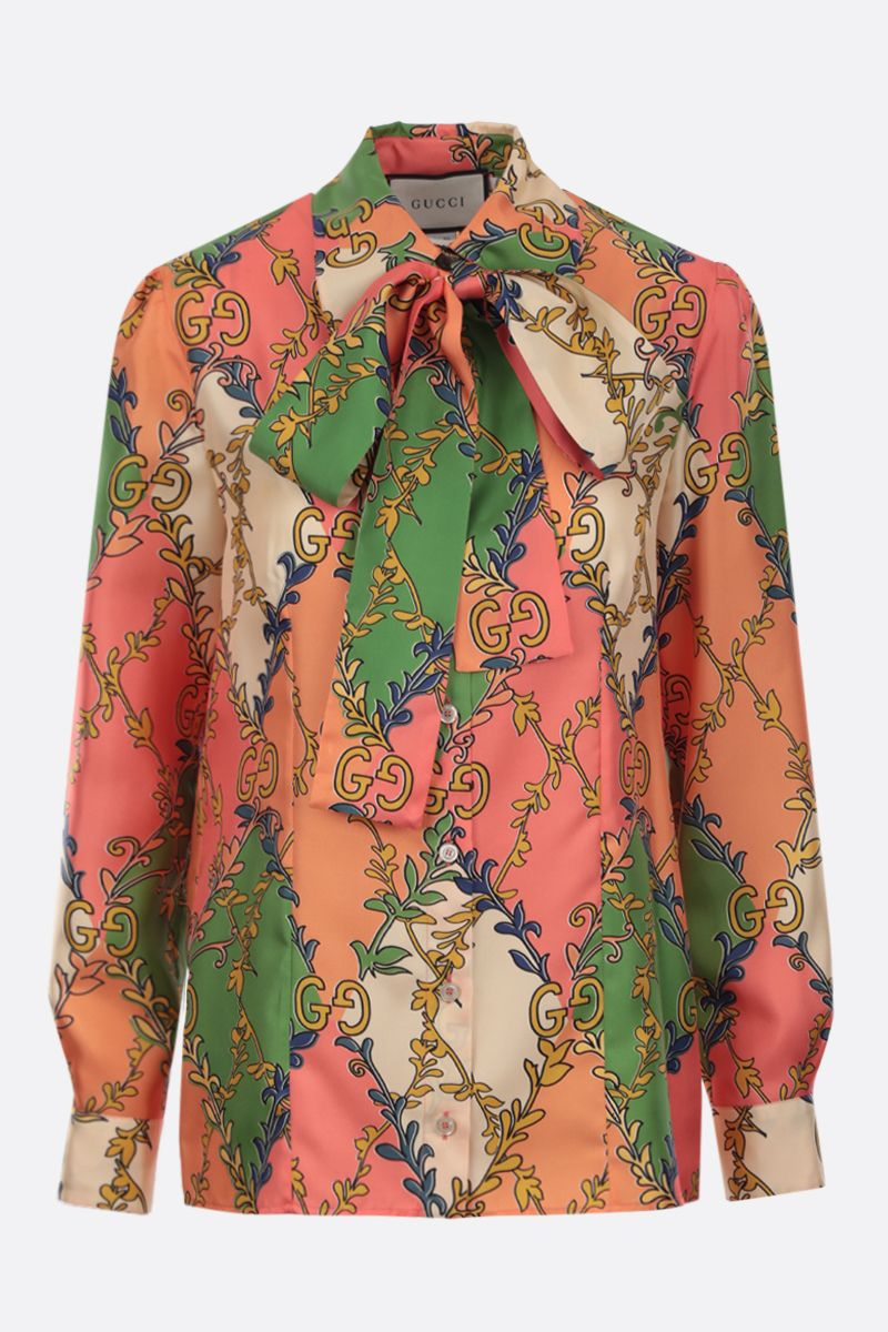 GUCCI: floral GG print silk twill shirt Color Pink_1