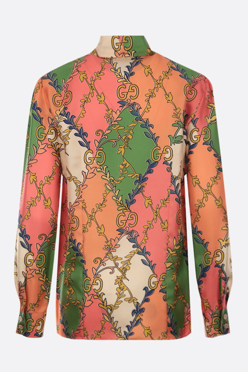 GUCCI: floral GG print silk twill shirt Color Pink_2