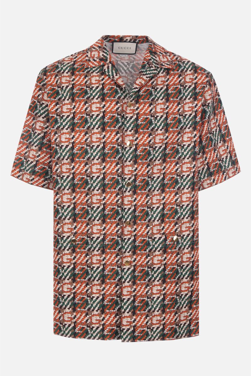 GUCCI: woven effect G print cotton bowling shirt_1
