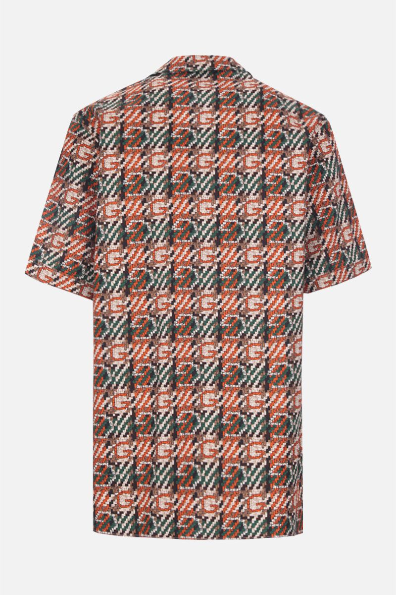 GUCCI: woven effect G print cotton bowling shirt_2