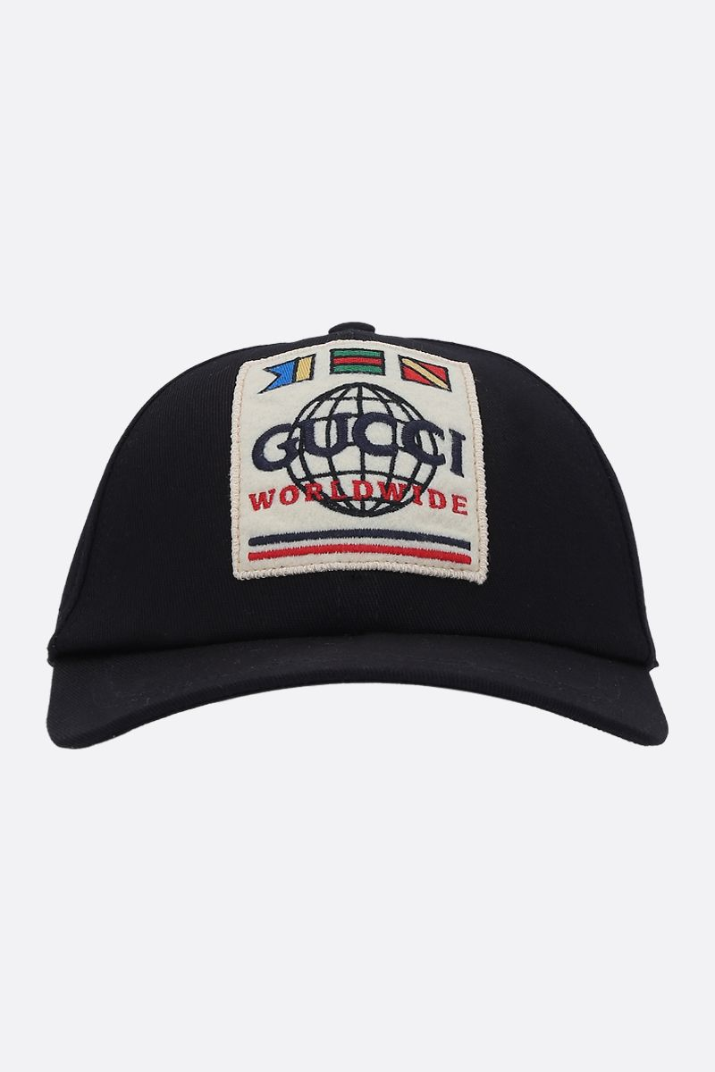 GUCCI: gabardine cap with Gucci Worldwide patch Color Black_1