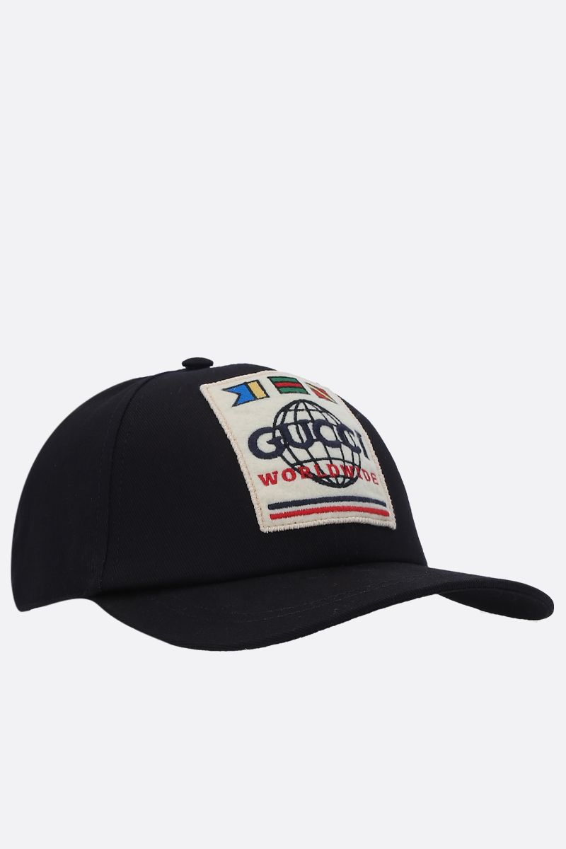 GUCCI: gabardine cap with Gucci Worldwide patch Color Black_2
