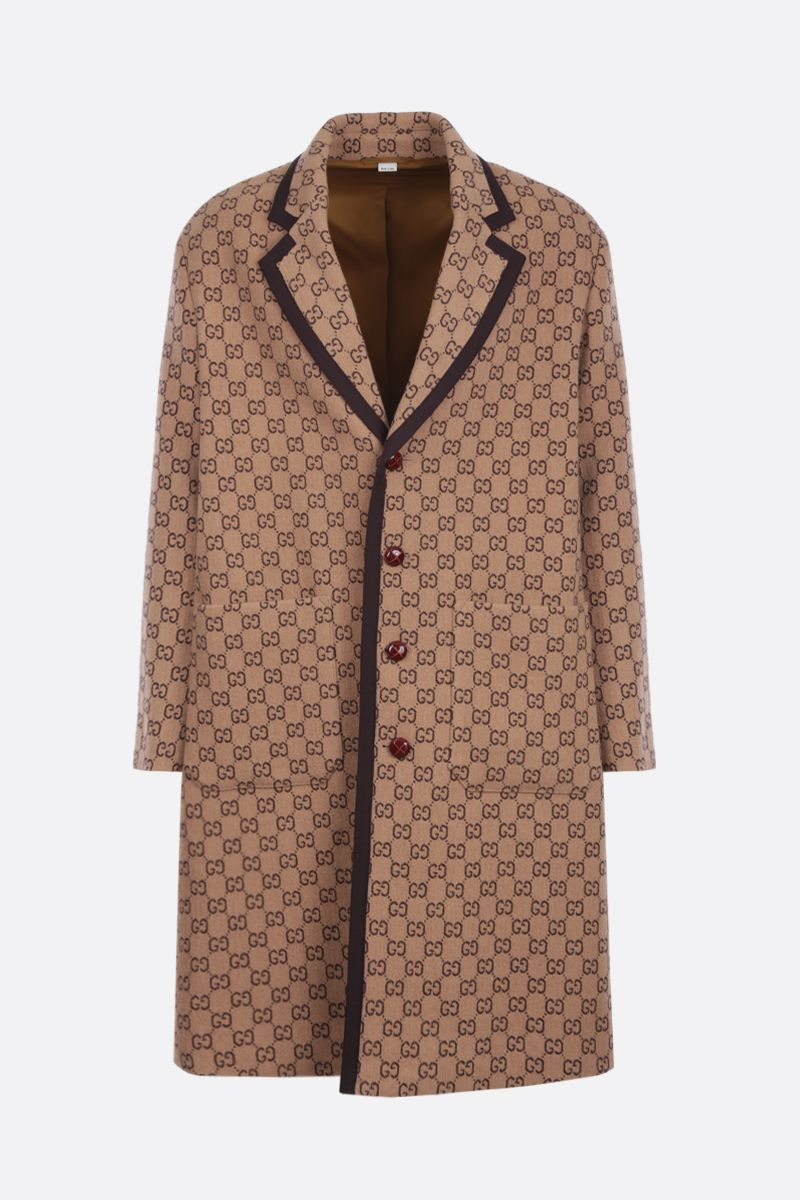 GUCCI: single-breasted coat in GG wool blend_1