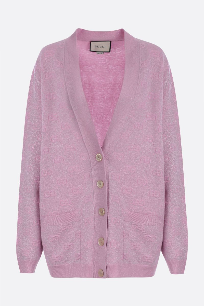 GUCCI: oversized GG wool lurex blend cardigan Color Pink_1