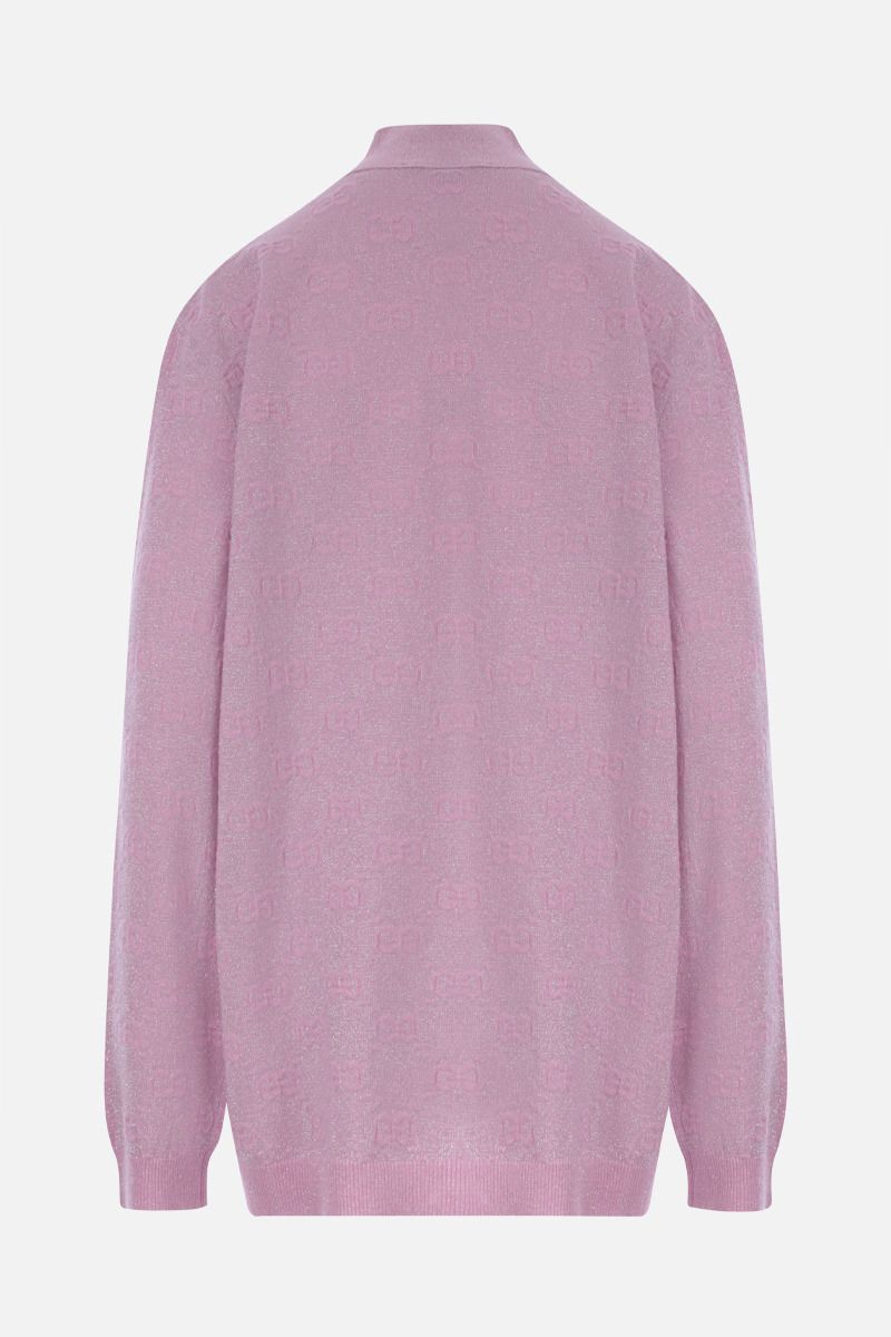 GUCCI: oversized GG wool lurex blend cardigan Color Pink_2