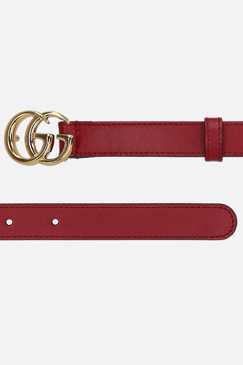 GUCCI: Double G buckle-detailed smooth leather belt Color Red_2