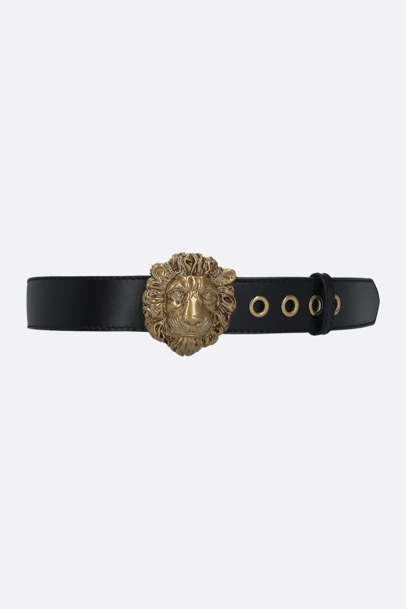 GUCCI: lion head buckle-detailed smooth leather belt Color Black_1