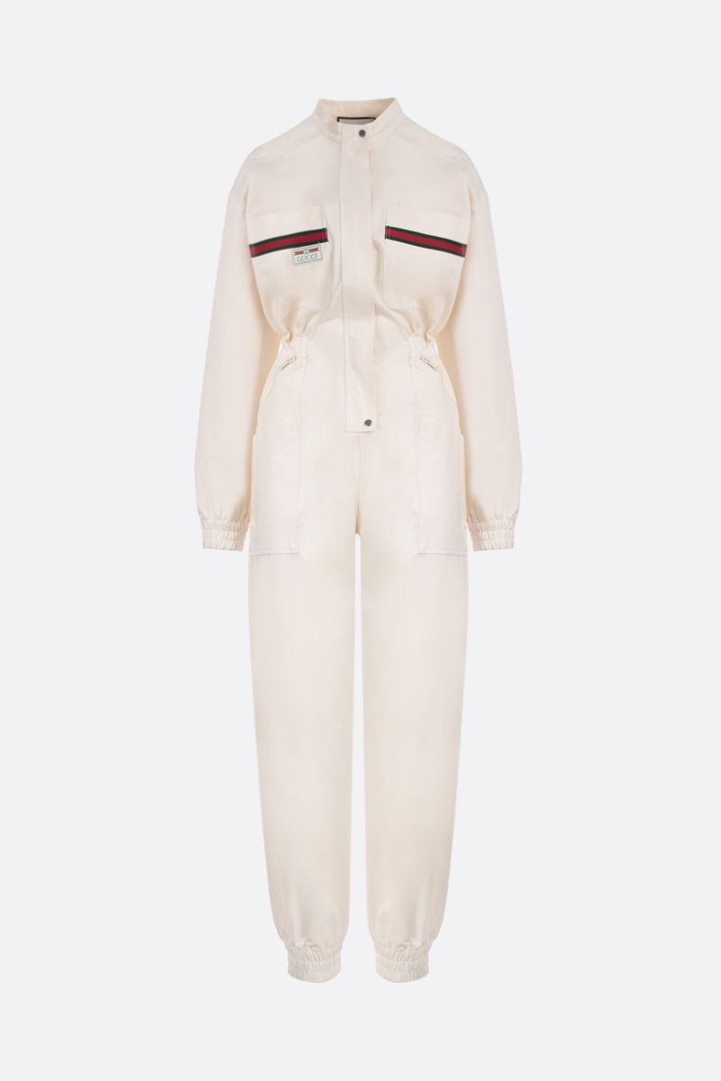 GUCCI: Web-detailed cotton jumpsuit Color White_1