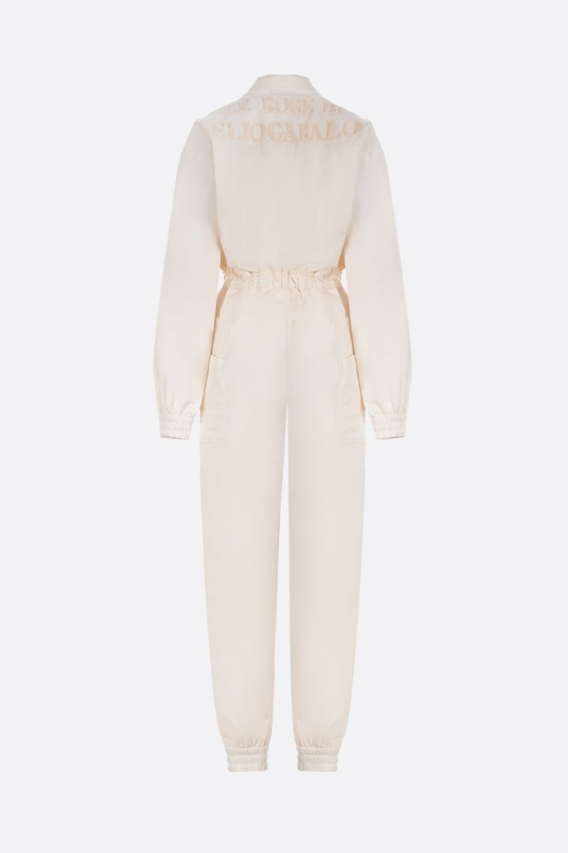 GUCCI: Web-detailed cotton jumpsuit Color White_2